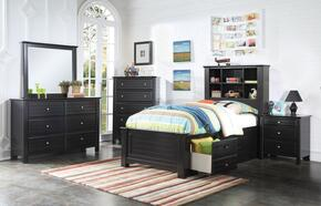 Mallowsea 30390TSET 5 PC Bedroom Set with Twin Size Bed + Dresser + Mirror + Chest + Nightstand in Black Finish