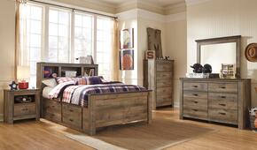 Trinell Full Bedroom Set with Bookcase Bed with Drawers, Dresser, Mirror, Nightstand and Chest in Brown