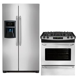 "2-Piece Stainless Steel Kitchen Package with FFSC2323LS 36"" Counter-Depth Side-by-Side Refrigerator and FFGS3025PS 30"" Slide-In Gas Range"