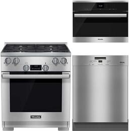 "3-Piece Kitchen Package with HR1124LP 30"" Freestanding Gas Range, DG6500 24"" Single Wall Oven, and G4227SCUSS 24"" Built In Full Console Dishwasher in Stainless Steel"