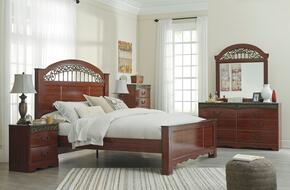 Fairbrooks Estate King Bedroom Set with Panel Bed, Dresser, Mirror and Chest in Cherry