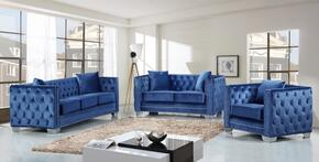 Reese Collection 648-LTBLU-S-L-C 3 Piece Living Room Set with Sofa + Loveseat and Chair in Light Blue