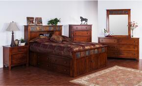Santa Fe Collection 2334DCSQBDMN 4-Piece Bedroom Set with Storage Queen Bed, Dresser, Mirror and Nightstand in Dark Chocolate Finish
