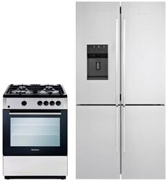 """2 Piece Kitchen Package With BGR24100SS 24"""" Gas Freestanding Range and BRFD2652SS 36"""" French Door Refrigerator In Stainless Steel"""
