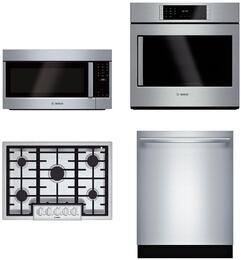 "4-Piece Stainless Steel Kitchen Package with NGMP055UC 30"" Natural Gas, HBLP451RUC 30"" Single Wall Oven, HMVP053U 30"" Over the Range Microwave, and SHP87PW55N 24"" Fully Integrated Dishwasher"