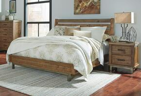 Dondie Queen Bedroom Set with Sleigh Bed and Single Nightstand in Warm Brown