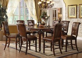 Winfred 60080T8C 9 PC Bar Table Set with Counter Height Table + 8 Chairs in Cherry Finish