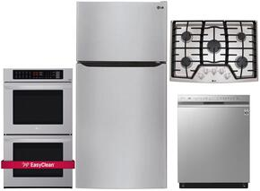"4 Piece Kitchen Package With LCG3011ST 30"" Gas Cooktop, LWD3063ST 30"" Electric Double Wall Oven, LTCS24223S 33"" Top Freezer Refrigerator and LDF8874ST 24"" Built In Dishwasher in Stainless Steel"