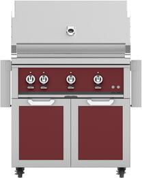 "36"" Freestanding Natural Gas Grill with GCD36BG Tower Grill Cart with Double Doors, in Tin Roof Burgundy"