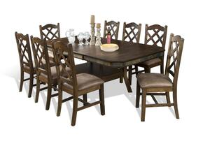 Savannah Collection 1151ACDT8C 9-Piece Dining Room Set with Dining Table and 8 Chairs in Antique Charcoal Finish