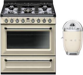 "2-Piece Cream Kitchen Package with TRU36GGP 36"" Freestanding Gas Range and SJF01CRUS 7"" Slow Juicer"