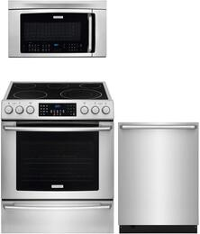 "3-Piece Stainless Steel Kitchen Package with EI30EF45QS 30"" Electric Range, EI24ID50QS 24"" Fully Integrated Dishwasher and EI30SM35QS 30"" Over-The-Range Microwave"