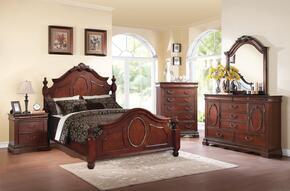 Estrella 21730Q5PC Bedroom Set with Queen Size Bed + Dresser + Mirror + Chest + Nightstand in Dark Cherry Finish