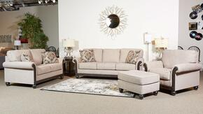 Alexandra Collection MI-1886SLCO-TAUP 4-Piece Living Room Set with Sofa, Loveseat, Chair and Ottoman in Taupe Color