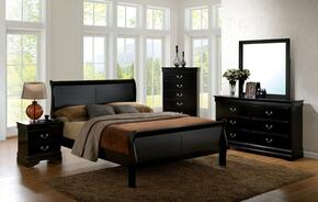 Louis Philippe III Collection CM7866BKCKBEDSET 5 PC Bedroom Set with California King Size Sleigh Bed + Dresser + Mirror + Chest + Nightstand in Black Finish