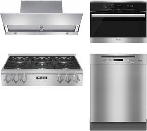 "4-Piece Stainless Steel Kitchen Package with KMR1134LP 36"" Liquid Propane Rangetop, DA3690 36"" Under Cabinet Hood, 22620054USA 24"" Single Wall Oven, and G6305SCUS 24"" Full Console Dishwasher"