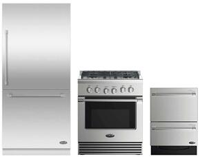 "2 Piece Stainless Steel Kitchen Package With RDV2304N 3O"" Gas Freestanding Range, RS36W80RJC1 36"" Built In Refrigerator and DD24DV2T7 24"" Drawers Dishwasher"