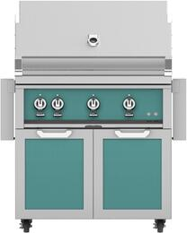 "36"" Freestanding Liquid Propane Grill with GCD36TQ Tower Grill Cart with Double Doors, in Bora Bora Turquoise"
