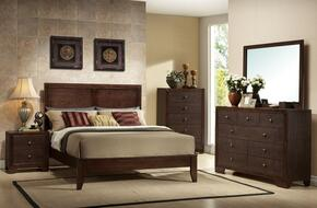 19564CKDMCN Madison California King Size Panel Bed + Dresser + Mirror + Chest + Nightstand in Espresso Finish