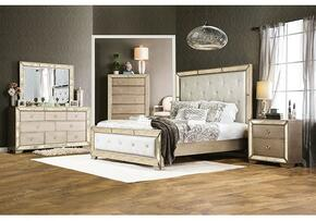 Loraine Collection CM7195CKBDMCN 5-Piece Bedroom Set with California King Bed, Dresser, Mirror, Chest and Nightstand in Silver Finish
