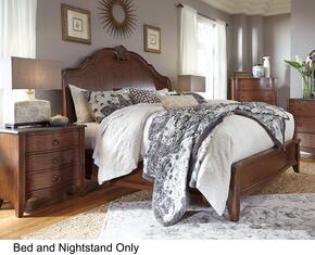 Balinder Queen Bedroom Set with Sleigh Bed and Nightstand in Medium Brown