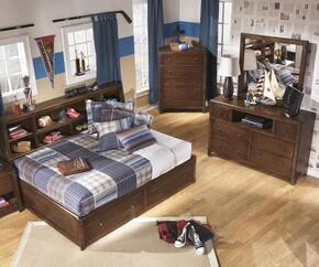 Delburne Full Bedroom Set with Storage Bed, Dresser and Mirror in Medium Brown