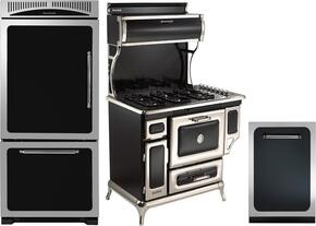 "3-Piece Black Kitchen Package with HCTMR20LBLK 30"" Top Freezer Refrigerator, 720000GBLK 48"" Freestanding Gas Range, and HCTTDWBLK 24"" Fully Integrated Dishwasher"