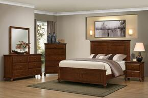 1001-6652/68SK Raleigh Bedroom Set Including King Bed, Dresser, Mirror, Chest and Nightstand  with Molding Detail, Bun Feet, Distressed Detailing and Turned Legs in Brown