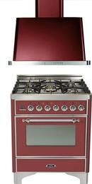 "2-Piece Burgundy Kitchen Package with UM76DVGGRBX 30"" Freestanding Gas Range (Chrome Trim, 5 Burners, Timer) and UAM76RB 30"" Wall Mount Range Hood"