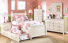 Cottage Retreat Twin Bedroom Set with Poster Trundle Bed, Dresser, Mirror and Nightstand in Cream