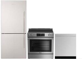 "3-Piece Kitchen Package with BRFB1812SSLN 30"" Counter Depth Bottom Freezer Refrigerator, BERU30420SS 30"" Freestanding Electric Range, and a free DWT55300SS 24"" Built In Fully Integrated Dishwasher in Stainless Steel"