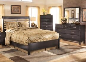 Kira 4-Piece Bedroom Set with Queen Size Panel Bed, Dresser, Mirror and Chest in Black