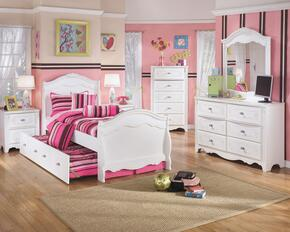 Woodard Collection Full Bedroom Set with Trundle Bed, Dresser, Mirror, 2 Nightstands and Chest in White