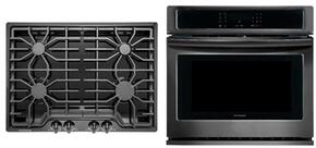 "2-Piece Kitchen Package with FFGC3026SB 30"" Gas Cooktop, and FFEW3026TD 30"" Electric Single Wall Oven in Black Stainless Steel"