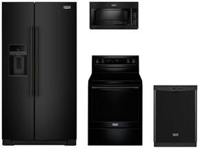 "4-Piece Kitchen Package with MSS26C6MFB 36"" Side by Side Refrigerator, MGR6600FB 30"" Electric Freestanding Range, MMV6190FB 30"" Over The Range Microwave oven and MDB4949SDE 24"" Built in Dishwasher in Black"