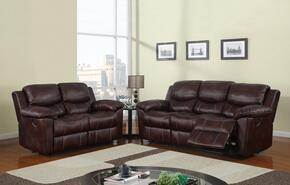 U2128-SL 2 Piece Reclining Livingroom Set in Brown, Sofa + Loveseat