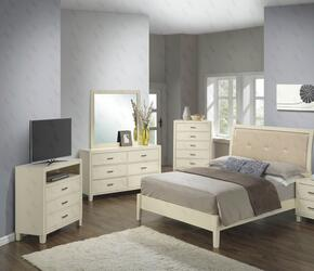 G1290AFBCHDMTV 5 Piece Set including Full Size Bed, Chest, Dresser, Mirror and Media Chest  in Beige