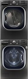 "Black Stainless Steel Washer and Dryer Package with WM4370HKA 27"" Washer, DLGX4371K 27"" Gas Dryer, and KSTK1 Stacking Kit"
