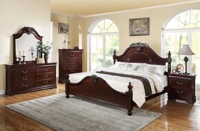 21854CK4PCSET Gwyneth Cal King Size Bed + Mirror + Dresser + Nightstandin Cherry Finish