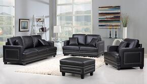 Ferrara Collection 654-BL-S-L-C-O 4 Piece Living Room Set with Sofa + Loveseat + Chair and Ottoman in Black