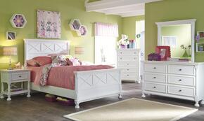 Kaslyn Full Bedroom Set with Panel Bed, Dresser, Mirror and Nightstand in White