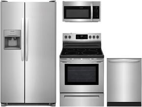 "4-Piece Stainless Steel Kitchen Package with FFSS2615TS 36"" Side-by-Side Refrigerator, FFEF3056TS 30"" Freestanding Electric Range, FFID2426TS 24"" Fully Integrated Dishwasher and FFMV1645TS 30"" Over-the-Range Microwave"