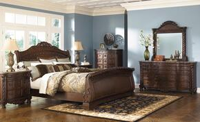 North Shore Collection King Bedroom Set with Sleigh Bed, Dresser and Mirror in Dark Brown