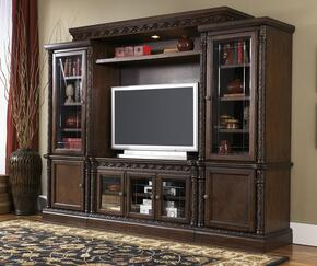 """North Shore W553WALL Entertainment Center with 51"""" Wide Medium TV Stand, Left Pier, Right Pier and Bridge in Dark Brown Finish"""