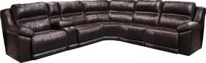 Bergamo Collection 41846789 6 PC Sectional Sofa Set with Right and Left Side Facing and Lumbar Headrest Recliner + Console + 2 Armless Chairs + Wedge in Chocolate Color