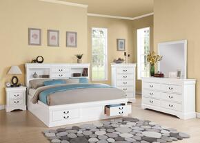 Louis Philippe III Collection 24487EK5PC Bedroom Set with Eastern King Size Bed + Dresser + Mirror + Chest + Nightstand in White Finish