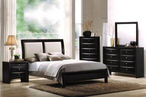 04160QDMCN Ireland Queen Size Sleigh Bed + Dresser + Mirror + Chest + Nightstand in Black Finish