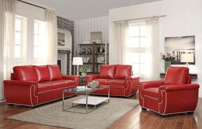 Sariel Collection 52170SLCT 5 PC Living Room Set with Sofa + Loveseat + Chair + Coffee Table + End Table in Red and White Color