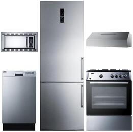 "5-Piece Stainless Steel Package with FFBF181ESLHD 24"" Bottom Freezer Refrigerator, PRO24G 24"" Slide In Gas Range, ULT2824SS 24"" Under Cabinet Convertible Hood, OTR24 24"" Microwave Oven, and DW18SS2 18"" Fully Integrated Dishwasher"