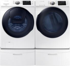 "White Front Load Laundry Pair with WF45K6200AW 27"" Washer, DV45K6200EW 27"" Electric Dryer and 2 WE357A0W Pedestals"
